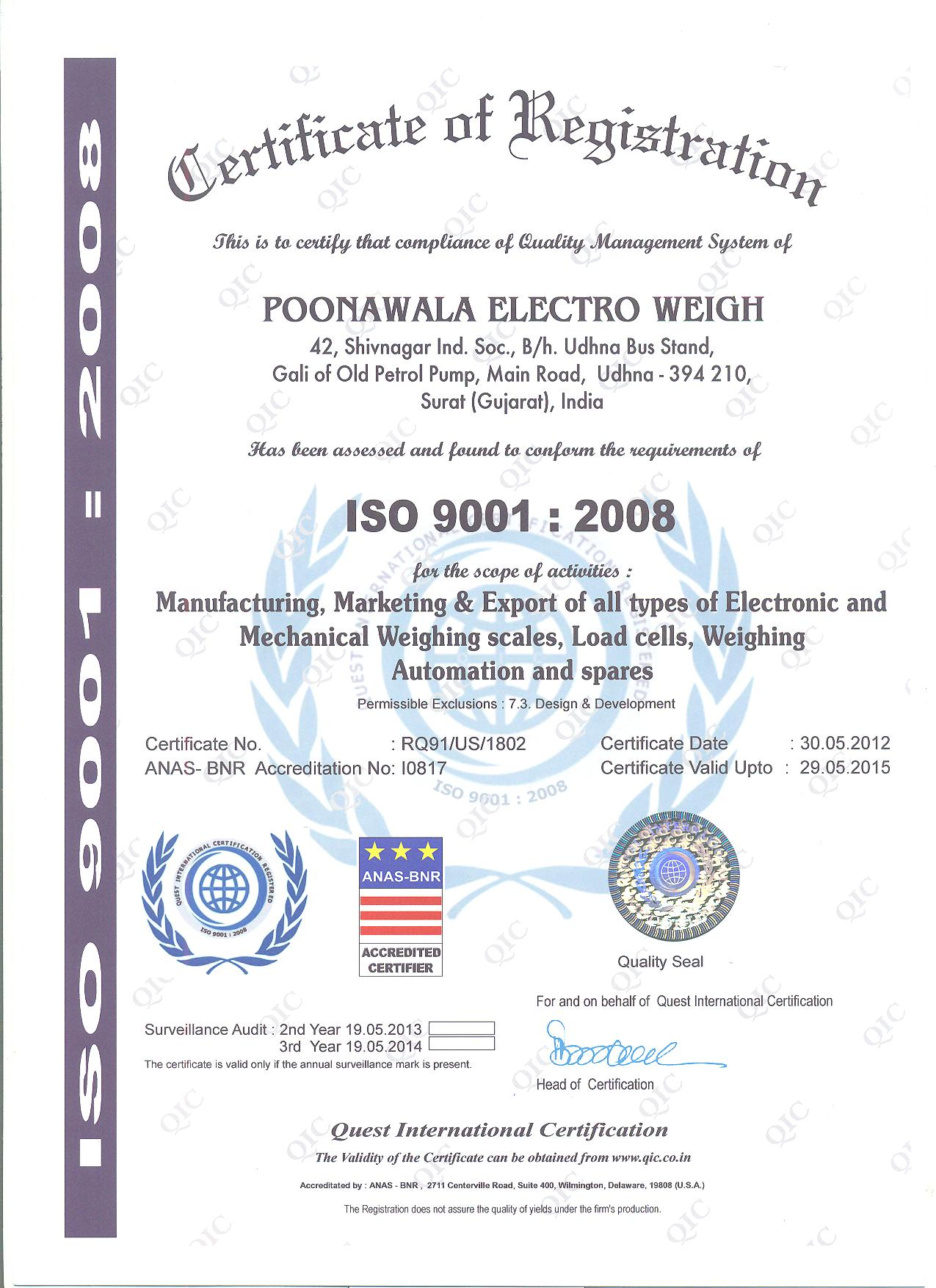 ISO 9001:2008 Certified company Weighing Scales
